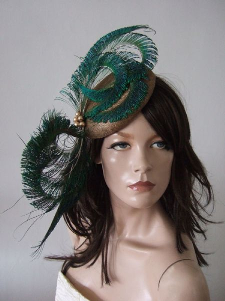 "Gold and Green Peacock Feathers Smartie Cocktail Hat Headpiece Fascinator ""Carrie"""